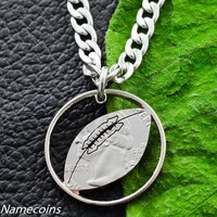 Football Necklace, Hand Cut Quarter