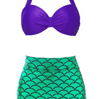 Purple Halter Green Scales Pattern High-Waist Bikini