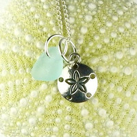Petite GENUINE Turquoise Sea Glass Jewelry Sand Dollar Necklace