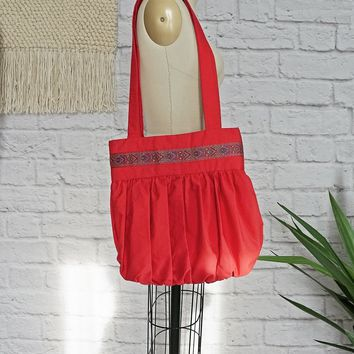 Vintage 1980's Red + Pleated Handmade Tote