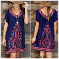 SZ MEDIUM Brenton Cottage Navy Embroidered Tunic Dress