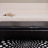 Contemporary Storage Bench Ottoman Black Faux Leather Living Room Furniture New