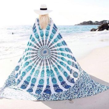 Psychedelic Summer Baby Blue Peacock Mandala Tapestry