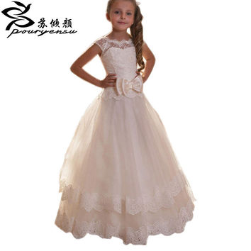 2016 Flower Girl Dresses Spring Pretty girls dress Vestidos De Primera Comunion  For Weddings Kids Ball gowns Floor Length Lace