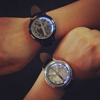 Creative personality minimalist leather LED Digital watch women couple watch men electronics casual watches students clock hours