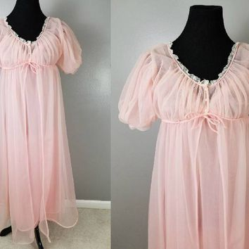 1950s 1960s Peignoir Set Pink Sheer Pleated Chiffon with White Lace Accent Bridal Trousseau Anniversary