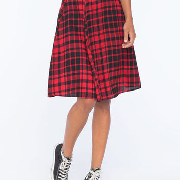 Lily White Plaid Midi Skirt Black/Red  In Sizes