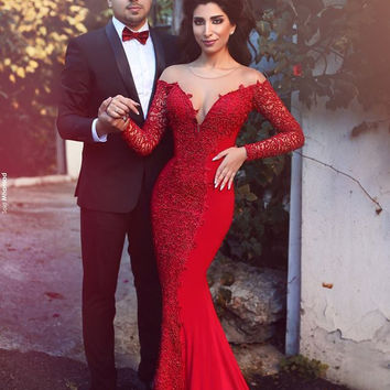 Sexy Arabic Designer Long Sleeve Open Back Gala Evening Dress With Lace Red Jersey Mermaid Abiti Lunghi Eleganti Di Occasione
