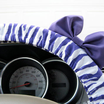 The Original Purple Zebra Steering Wheel Cover with Matching Purple Bow