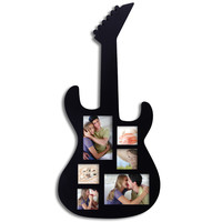 Furnistar Decorative Black Wood Guitar Wall Hanging Collage Picture Photo Frame (6-Opening)