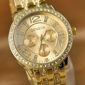 Geneva Watch Full Steel Watches Women dress Rhinestone Analog wristwatches men Casual watch 2014 Ladies Unisex Quartz watches = 1956611972