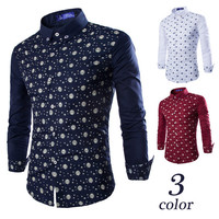 New Print Design Men's Slim Dress Shirt