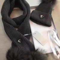 Alexander McQueen Fashion Beanies Knit Winter Hat Cap Scarf Scarves Set Two-Piece3