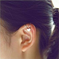 Ladies NEW FASHION Tiny Heart Clip On Cuff Earrings