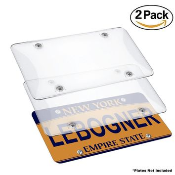 Car License Plates Shields By Lebogner - 2 Pack Clear Bubble Design Novelty Plate Covers To Fit Any Standard US Plates, Unbreakable Frame Covers To Protect Front, Back License Plates, Screws Included