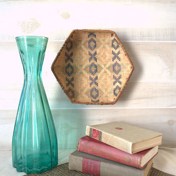 Hexagonal Wall Basket, Unique Wall Basket, Wicker Boho Wall Basket, Colorful Woven Basket