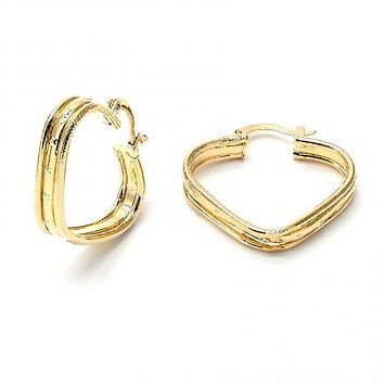 Gold Layered 5.146.009 Small Hoop, Diamond Cutting Finish, Golden Tone