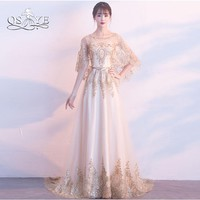 QSYYE 2018 New Long Prom Dresses Robe de Soiree Gold Lace Beaded Cape Vintage Saudi Arabia Formal Evening Dress Party Gown