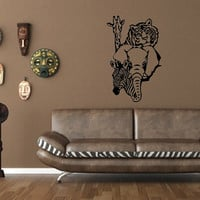 Vinyl Wall Decal Wild Animals Style B Tiger Elephant Giraffe Zebra 22374