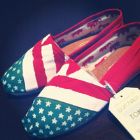 Limited Edition--Till The End of August Only--Hand-Painted American Flag TOMS Classics
