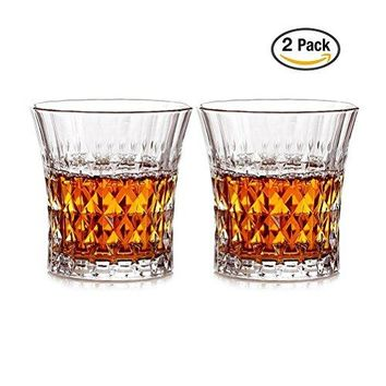Crystal Glasses for Spirits Whiskey Scotch Bourbon Old Fashioned Glass 2 Set 77 Ounce