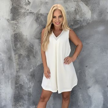 Lydia Diamond Shift Dress in Ivory