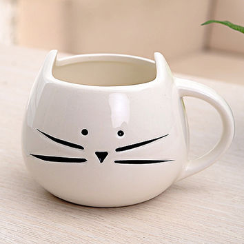 MEOF Coffee Cup Black Cat Animal Milk Cup Ceramic Lovers Mug Cute Birthday gift,Christmas Gift (White/Black)