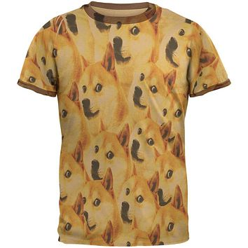 Happy Dog Doge Meme Mens Ringer T Shirt
