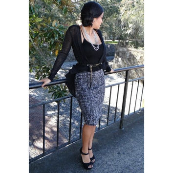 Priss Miss Tweed Pencil Skirt