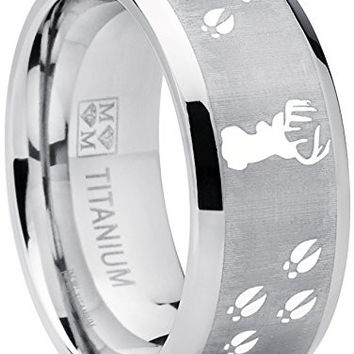 9MM Sating Finish / High Polish Deer Track Titanium Ring Wedding Band, Outdoor Jewelry, Men's Hunting Ring | FREE ENGRAVING