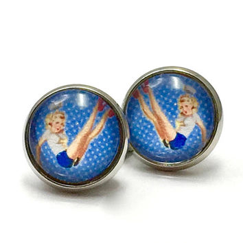 Earrings silver sailor pin up girl earrings rockabilly maritim vintage cabochon Blue 12 mm glass Pearl Jewelry handmade glass cabochon