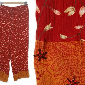 Vintage Floral Pants~Size Small/Medium/Large~60s Style Boho Hippie Red Orange Flower Beaded Adjustable Drawstring Flowy Pants~By Lane Bryant
