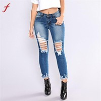 Feitong high waist jeans Women Denim Hole ripped jean for women Stretch Slim Sexy Pencil pantalon vaquero mujer plus size jeans