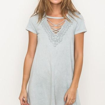 Laced Front Washed Tee Dress