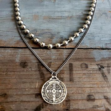 Sterling Silver St. Benedict Pendant Silver Chain Double Strand Bead Necklace