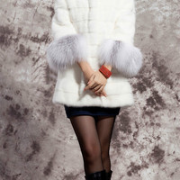 White Fur Hooded Long-Sleeve Winter Coat