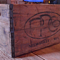 Vintage Premier Pabst Corp Wood Crate, Pabst Beer Wooden Crate, Milwaukee Wisconsin, PPCO
