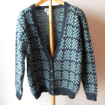 Vintage 80s Pappagallo Cardigan Sweater Mohair Acrylic Gray Seafoam Medium M Valentines Day