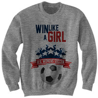 Womens Soccer Sweatshirt Win Like A Girl Shirt World Champions Ladies Tee Tees #USA Womens Tops Unisex Clothes S M L XL Jumpers Futbol