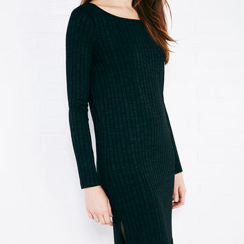Marled Ribbed Knit Dress With Side-Slits | Wet Seal