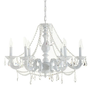 Sutton 6-Light Chandelier, White, Ceiling Chandeliers