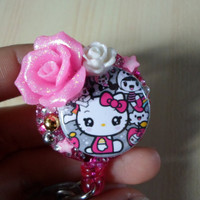 SALE- Keychain, ID badge holder Hello Kitty Pink Swarovski Crystals Bling Reel Retractable Nurse