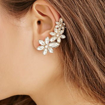 Rhinestoned Floral Earring