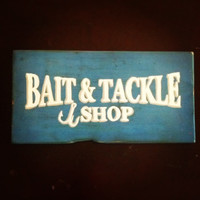 Wooden Painted Bait & Tackle Shop Sign