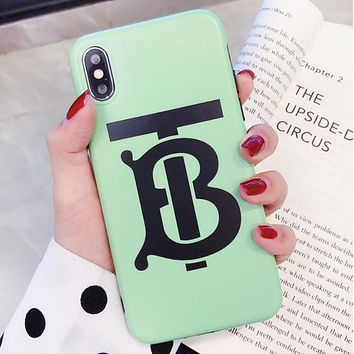 Burberry Fashion New Letter Print Women Men Phone Case Protective Cover  Green