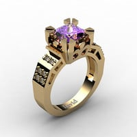 Modern Vintage 14K Yellow Gold 2.0 Carat Princess Amethyst Diamond Solitaire Ring R1023-14KYGDAM