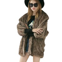 2017 Winter Womens Luxury Fox Fur Coat Thick Warm Fluffy Jacket Long Sleeve Ladies Faux Fur Coat Shawl Collar Outwear Plus Size