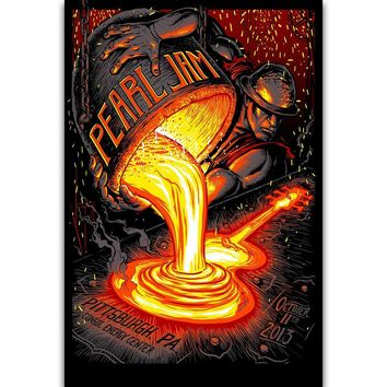 S395 Pearl Jam Metal Rock Music Band Pittsburgh Tour Wall Art Painting Print On Silk Canvas Poster Home Decoration