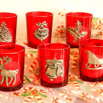 christmas red votive candle holder christmas table decor - How To Decorate Votive Candle Holders For Christmas