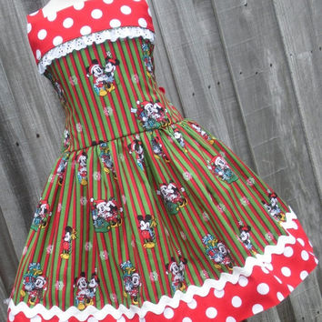 ON SALE Ready to Ship Custom Boutique Mickey Minnie Red Green Christmas Girl Dress 4 5 6 Disney